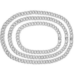7.5mm Cuban Link Chain Necklace in 10K Silver -28""